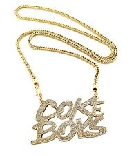 "New Iced Out COKE BOYS Pendant &4mm/36"" Franco Chain Hip Hop Necklace XP934"