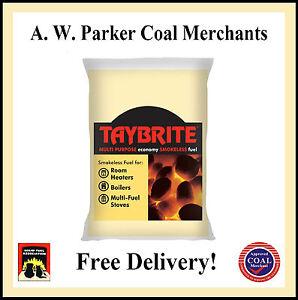 Taybrite Smokeless fuel coal Premium 1 tonne pre packed 50x20kg bags ton