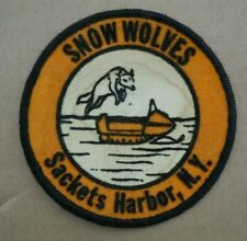 "Vintage 4"" Snow Wolves Snowmobile Club Felt Patch Sackets Harbor, Ny"