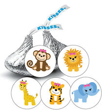 108 Jungle Animals Safari Baby Girl Shower Favor Stickers for Hershey Kisses