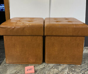 2 FAUX LEATHER FOLD-UP STORAGE OTTOMANS W/TRAY Chestnut  Valerie Parr Hill
