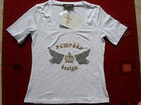 Damen T-Shirt Pompöös, H.Glöckler, Mädchen Shirt, Gr. 34, weiss m. Glitzerdruck