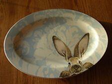 Williams Sonoma Easter/Spring Damask Bunny Rabbit Large Platter-Blue/White-New