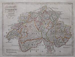 1819 Borghi Mappa Il Paese degli Svizzeri come era nel 1790 Switzerland Svizzera