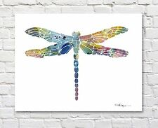 Dragonfly Abstract Watercolor Painting Art Print by Artist DJ Rogers