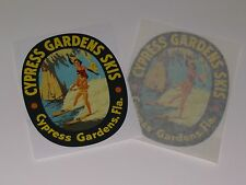 "Vintage Cypress Gardens wood water ski 5 1/4"" decals (pair) Free Shipping"