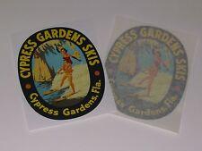 "Vintage Cypress Gardens wood ""large size"" water ski decals (pair)"