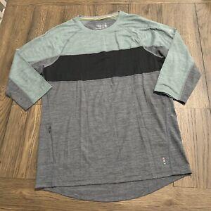 Smartwool T-Shirt Mens Small 3/4 Sleeve Gray Green Hidden Pocket