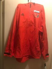 University of Miami Hurricanes ADIDAS Pullover Jacket, ORANGE, Men L NCAA-NEW