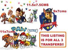 3x Paw Patrol Iron On Transfers - kids craft t-shirt embellishment