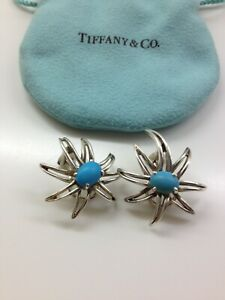 Tiffany & Co Sterling Silver Turquoise Fireworks Earrings!