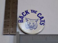 Back the Cats Pin Pin Vintage Old Metal Round Pinback Mifflinburg Wildcats Blue
