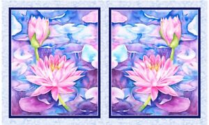 """P&B Textiles Water Lilies Water Lilies 21""""x 44"""" Panel Fabric 100% cotton"""