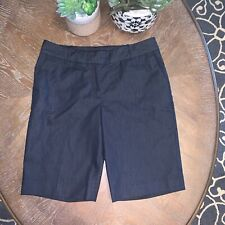Talbots Women's 8 Bermuda Deep Blue Mid-Rise Cotton-Spandex Shorts