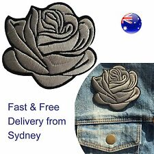 Silver rose head Iron on patch - metallic shining flower blossom iron-on patches