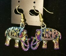 1 pair of 26x20x8mm Multicolor 3D Carved Tibetan Silver Elephants