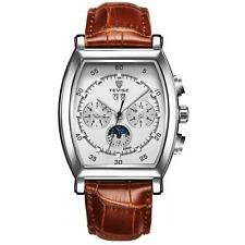 Tevise Mens Homage Rectangular Automatic Watch Silver White Brown Watches Date