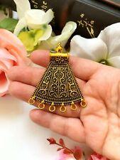 Antique Brass Tone Ethnic Vintage Look Metal Pendant, Indian, Jewellery Supplies