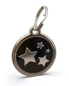 Pet Dog Cat ID Engraved Name Tag Personalized Stainless Steel Black Stars
