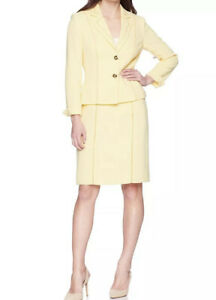 Tahari Asl Size 6 Women Two Button Pale Yellow Skirt Suit