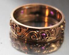 1940 ART DECO 14K ROSE GOLD ETERNITY BAND WEDDING RING ANTIQUE FLORAL ENGRAVED
