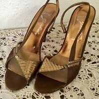 80's Vintage Brown Bronze Snakeskin Slingback Stiletto Heels
