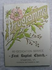 "1897 Christian ephemera ""Re-Dedication Service, 1st Baptist Church"" Stamford, VT"