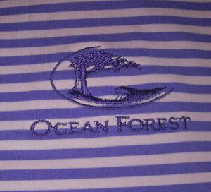 Peter Millar Ocean Forest Golf Shirt L Summer Comfort Purple Stripe Sea Island