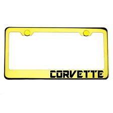 Gold Chrome License Plate Frame CORVETTE Laser Engraved Metal Screw Cap