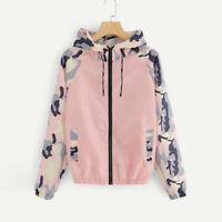 Womens Casual Sport Cardigan Long Sleeve Hooded Drawstring Patchwork Jacket Coat