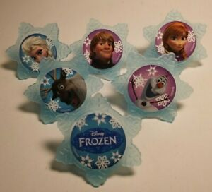 12 Frozen Cupcake Topper Rings Birthday Party Favor Olaf Elsa Anna Kristoff Sven