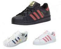 adidas Originals Kids Girls Superstar J Casual Fashion Shoes Sneakers White Pink