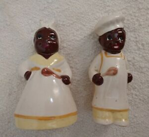 Vintage Yellows Black White Rare Americana Collectible Ceramic Salt Pepper Set