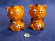 Vintage Orange Retro Flower Power Dog Salt and Pepper Shakers Ceramic        88