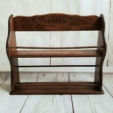 Vintage Wood Spice Rack Shelf 2 Shelves Carved Details
