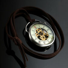 Mens Pocket Watch Mechanical Silver Open Face Hand-winding Vintage Chain Luxury