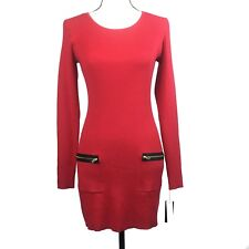 New Directions Womens Small Tunic Sweater Red Ribbed Long Sleeve Pockets