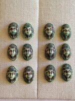 12 Vintage Egyptian PHARAOH Green, Brown Cameo GLASS CABOCHONS LOT Beads 16x11mm
