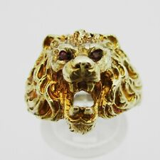 Fabulous 9ct Gold & Ruby Set Lions Head Ring. Size Q1/2.  7.2 Grams.