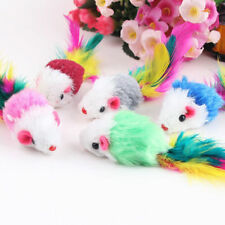 New listing Ag_ Au_ 10Pcs/lot Soft Fleece False Mouse Cat Toy Colorful Feather Playing Toys
