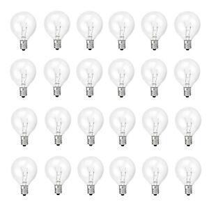 24 Pack Replacement 5 Watt G40 Globe Bulb Incandescent E12 Base