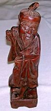 "Vintage Chinese Carved Wood Statuette Figurine of Fisherman 12"" tall, beautiful"