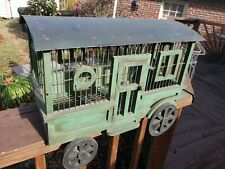 "1Custom Large Metal/Wood Circus Wagon""Go Green""Bird Cage 9x17w/tray Canary Finch"