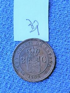 TWO CENTIMOS 1905 COIN SPAIN   ID190  VERY NICE COIN HERE FOLKS