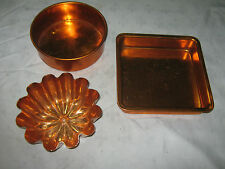 A Lot of 3 x Ass't Retro Orange Anodised Aluminium Cook,Bake Ware Mould & Pans