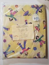 Vintage Laura Ashley Clown print twin flat sheet Mother and Child