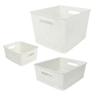 Curver Plastic Rattan Basket Bathroom Stackable Storage Boxes Toiletries Makeup