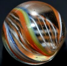 "ANTIQUE GERMAN HANDMADE GLASS MARBLE/.595""RARE O R A N G E&W H I T E  LATTICINIO"