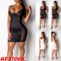 US Plus Size Women's V Neck Mesh Sheer Long Sleeve Bodycon Party Club Mini Dress