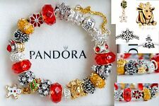 AUTHENTIC PANDORA BRACELET with x-mas Tree Deer Santa Gingerbread CHARM Beads
